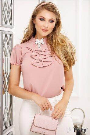 Bluză Fofy din voal roz pudrat cu jabou și broșă decorativă perle