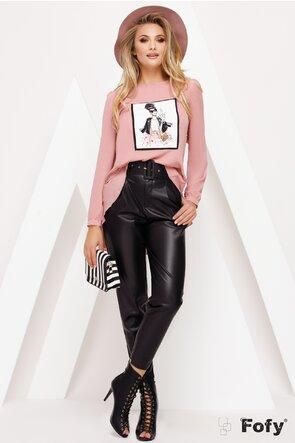 Bluza Fofy din voal roz pudrat cu volan la spate si imprimeu 3D