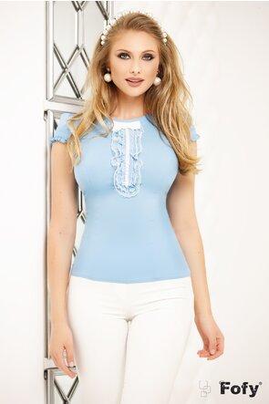 Camasa Fofy bleu cu sirag de perle si dantela