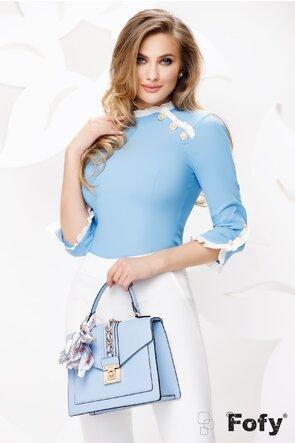 Camasa dama Fofy bleu cu maneci si guler din volane si nasturi pretiosi