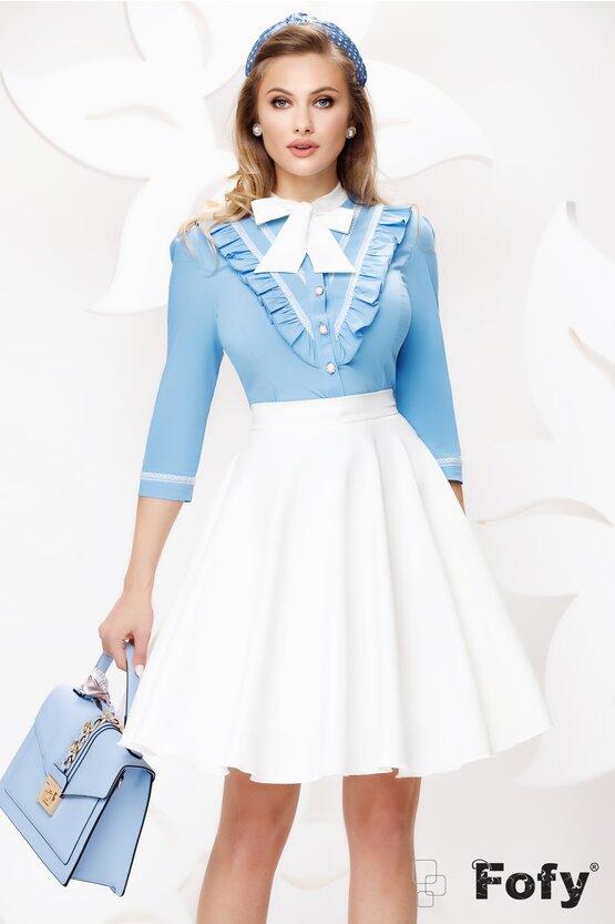 Camasa dama Fofy bleu cu volane si funda  ecru si brosa