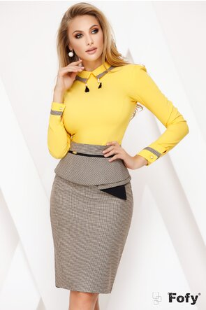 Camasa dama Fofy galbena cu aplicatii la guler și maneci