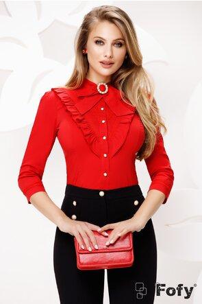 Camasa dama Fofy rosie cu volane si funda cu brosa