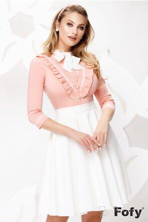Camasa dama Fofy roz cu volane si funda  ecru si brosa