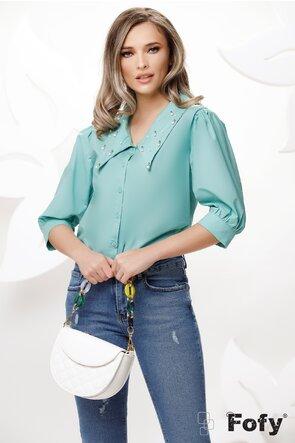 Camasa dama turquoise cu guler amplu si aplicatii de perle si strassuri