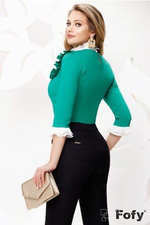 Cămașă de dama Fofy verde eleganta cu platca și volane