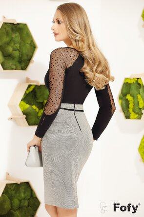 Camasa Fofy eleganta cu insertii din tulle si brosa decorativa