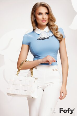 Camasa Fofy dama albastra cu jabou detasabil si accesoriu pe guler