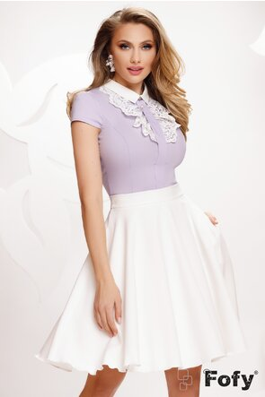 Camasa Fofy dama lila cu jabou dantelat si perla