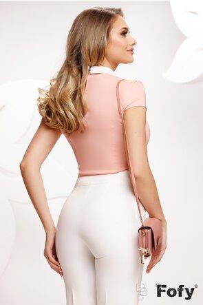 Camasa Fofy dama roz cu jabou detasabil si accesoriu pe guler