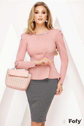Camasa Fofy dama roz  cu pliuri frontale si peplum elegant