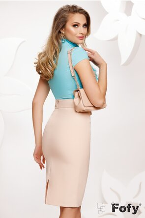 Camasa Fofy dama turcoaz eleganta cu jabou amplu