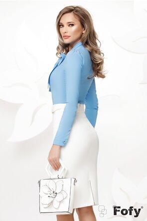 Camasa Fofy eleganta bleu cu funda maxi si accesoriu inclus