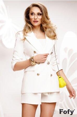 Compleu dama elegant alb sacou si pantalon scurt
