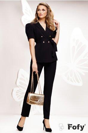 Compleu dama elegant negru sacou si pantalon lung