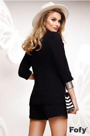 Compleu dama elegant negru sacou si pantalon scurt