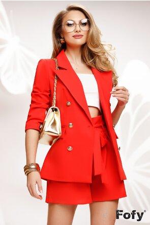 Compleu dama elegant rosu corai sacou si pantalon scurt