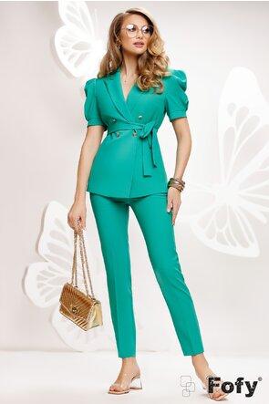 Compleu dama elegant verde sacou si pantalon lung