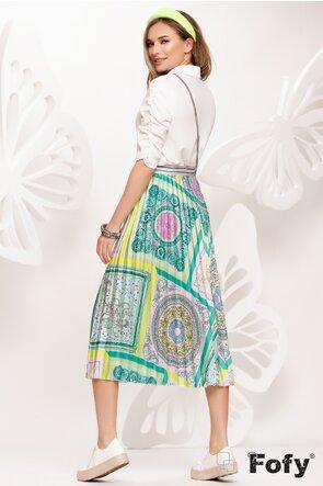 Fusta plisata eleganta imprimeu multicolor in tonuri de verde