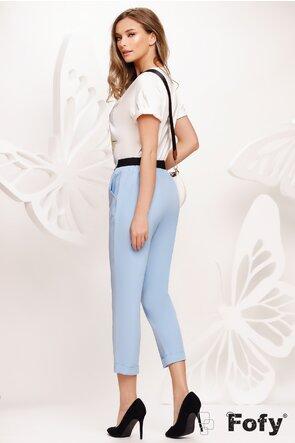 Pantalon dama bleu cu pense si elastic la spate