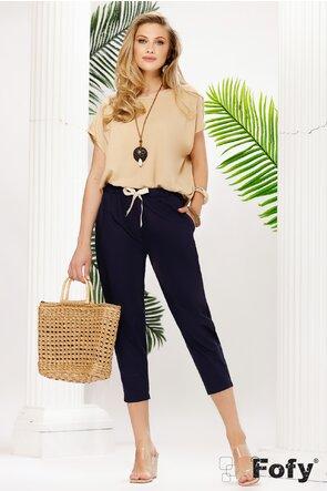 Pantalon dama bleumarin de vara din bumbac satinat pe elastic
