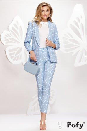 Pantalon dama conic bleu cu buline albe talie medie