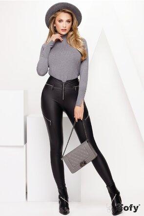 Pantalon dama cu talie inalta din piele ecologica cu fermoare si efect pushup