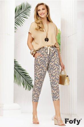 Pantalon dama de vara din bumbac satinat pe elastic imprimat geometric