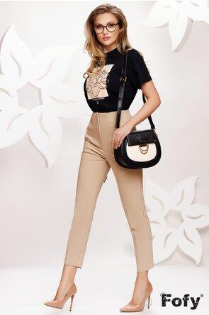 Pantalon dama elegant cu talie inalta bej cu pense de cambrare