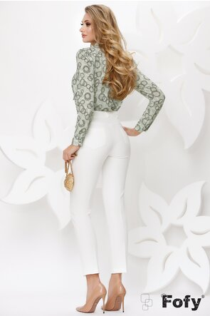 Pantalon dama Fofy elegant alb cu lant auriu