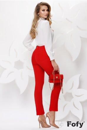 Pantalon dama Fofy elegant rosu cu lant auriu