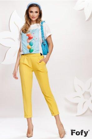 Pantalon dama galben cu pense si elastic la spate