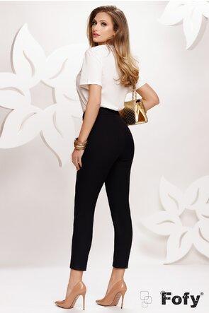 Pantalon dama negru elegant cu catarama intr o parte