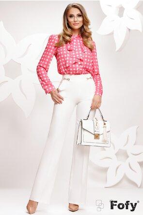Pantalon Fofy dama evazat alb cu catarame laterale