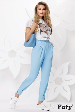 Pantaloni dama bleu bufanti cu talie inalta cu manseta si nasture la glezna