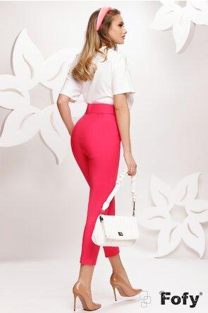 Pantaloni dama eleganti conici ciclame cu centura