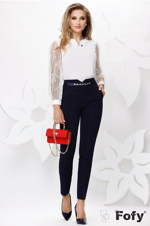 Pantaloni de dama bleumarin conici cu talie inalta si accesoriu detasabil