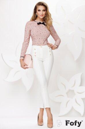 Pantaloni de dama albi cu nasturi perla