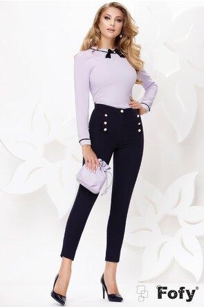 Pantaloni de dama  bleumarin cu nasturi perla