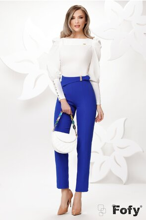 Pantaloni Fofy de dama albastrii conici cu catarama aurie cu perle