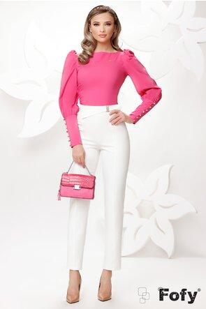 Pantaloni Fofy de dama albi conici cu  catarama aurie cu perle