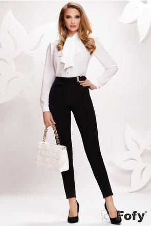 Pantaloni Fofy de dama negru conici cu  catarama aurie cu perle
