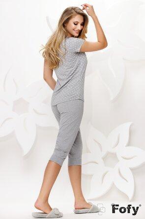 Pijama dama din bumbac cu tricou si pantaloni cu pisicute si buline