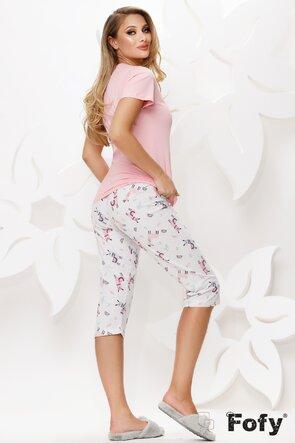 Pijama dama din bumbac cu tricou si pantaloni trei sferturi cu imprimeu lame