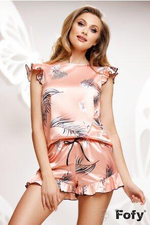 Pijama Fofy din saten premium 2 piese roz cu frunze de palmier