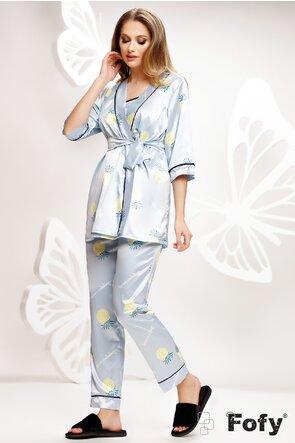 Pijama Fofy in saten premium 3 piese imprimeu cu ananas