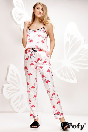Pijama Fofy in saten premium 3 piese imprimeu flamingo