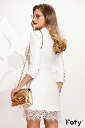 Rochie alba eleganta stil sacou cu dantela aplicata