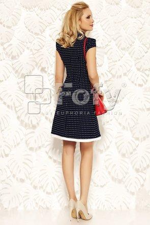 Rochie bleumarin cu buline și accesorii ecru