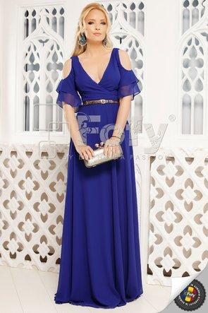 Rochie de ocazie albastră cu volănașe și decolteu petrecut